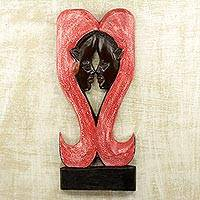 Wood relief panel, 'Odo Pa Love' - Sese Wood Wall Relief Panel of Faces in Red and Black