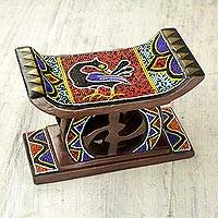 Beaded decorative wood stool, 'Adinkra Sankofa'