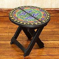 Beaded wood folding table, 'Beaded Canary' - Recycled Glass Beaded Sese Wood Folding Table with Birds