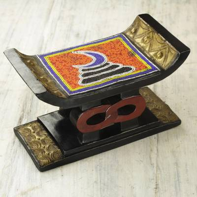 Decorative beaded mini wood stool, 'Adinkra Vigilance' - Decorative Beaded Mini Wood and Aluminum Ghanaian Stool