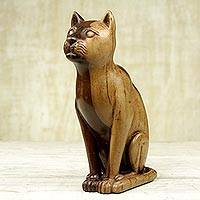 Ebony wood sculpture, 'Cat Guardian' - Hand Carved Ebony Wood Cat Sculpture from Ghana