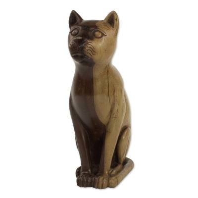 Hand Carved Ebony Wood Cat Sculpture from Ghana