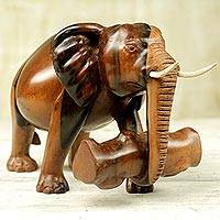Ebony wood sculpture, 'Elephant's Burden' - Ebony Wood Statuette of Elephant from Ghana