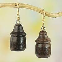 Wood dangle earrings, 'Village Huts' - Handcrafted Sese Wood Hut-Shaped Earrings from Ghana