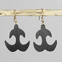 Ebony dangle earrings, 'Akoko Nan' - Hand Carved Ebony Wood Adinkra Dangle Earrings from Ghana