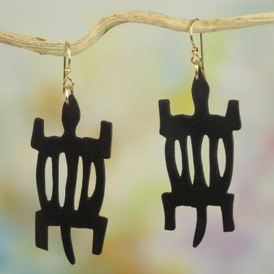 Wood dangle earrings, 'African Denkyem' - Handcrafted Sese Wood Crocodile Earrings from Ghana