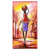 'A Community Legend' - Signed Expressionist Painting of a Village Woman from Ghana