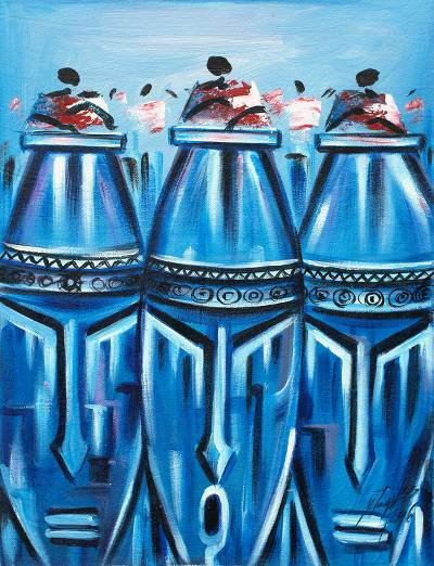 'Fontomfrom I' - Signed Expressionist Painting of Blue Face Drums from Ghana