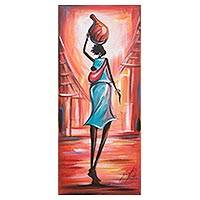 'Good Afternoon I' - Signed Art Expressionist Painting of a Woman from Ghana