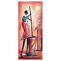 'Secret of a Woman II' - Signed Expressionist Painting of a Ghanaian Woman Cooking