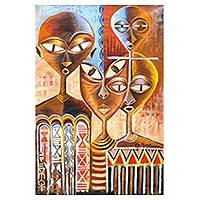 'Ceremonial Masks' - Signed Expressionist Painting of Ghanaian People with Masks