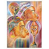 'Profile and Mask' - Signed Cultural Expressionist Painting of People from Ghana
