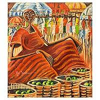 'Oranges' - Signed Expressionist Painting of Woman at Ghanaian Market