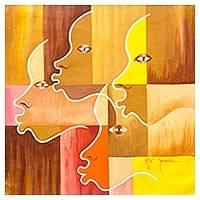 'Profile View' - Multicolored Signed Modern Painting of Faces from Ghana