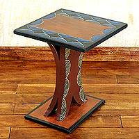 Cedar wood accent table, 'Ahoufe Square' - Hand Crafted Cedar Wood Rustic Accent Table from Ghana