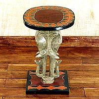 Cedar wood accent table, 'Savannah Elephants' - Cedar Wood Accent Table with Sculpted Elephants from Ghana