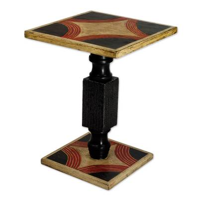 Cedar wood end table, 'Blooming Light' - Hand Crafted Cedar Wood Black and Beige End Table from Ghana