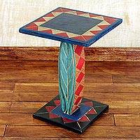 Cedar wood accent table, 'Rustic Leaf' - Hand Crafted Cedar Wood Geometric Leaf Accent Table