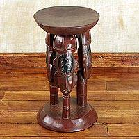 Cedar wood stool, 'United Family in Brown' - Cedar Wood Round Brown Stool with Adinkra Symbols