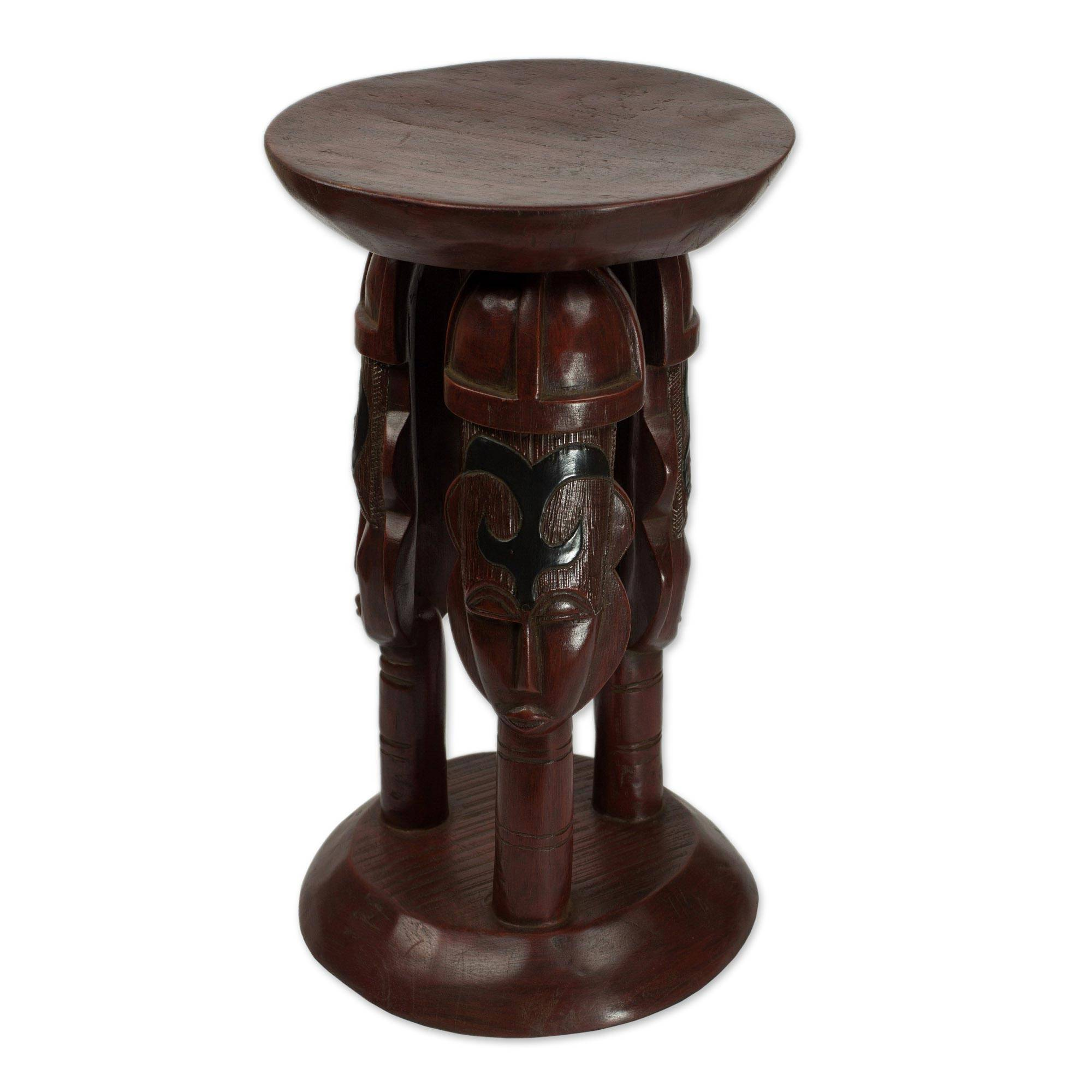 Cedar Wood Round Brown Stool with Adinkra Symbols - United Family in Brown | NOVICA  sc 1 st  Novica : round wooden stool - islam-shia.org