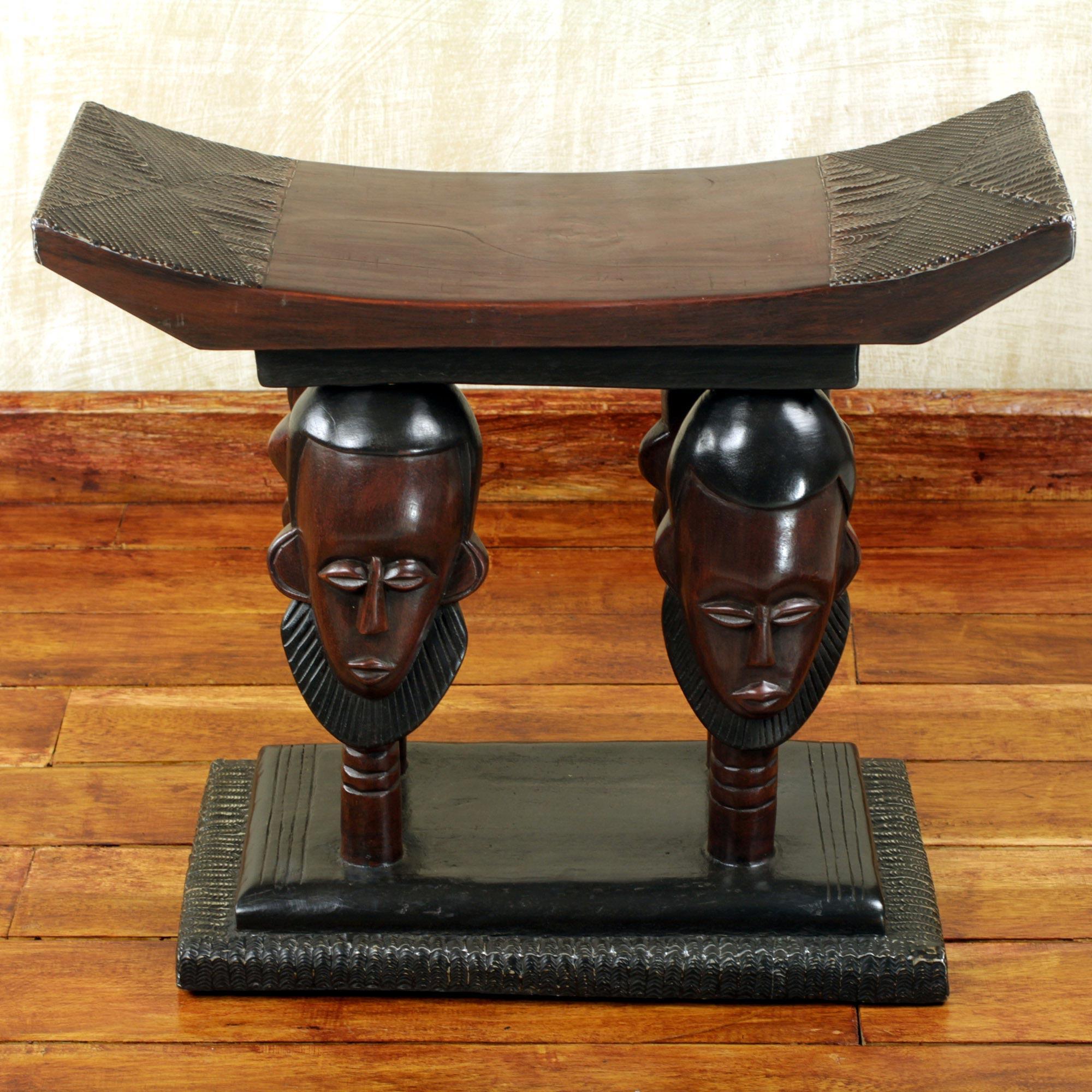 Handmade Ghanaian Cedar Wood Throne Stool With Faces, \'United Household\'