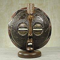African cedar wood mask, 'Bird Dreams' - Original African Table Top Mask Hand Carved from Cedar Wood