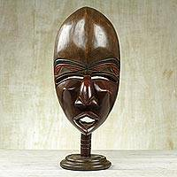 African cedar wood mask, 'Akposo Festival' - Hand-Carved African Cedar Wood Original Mask with Stand