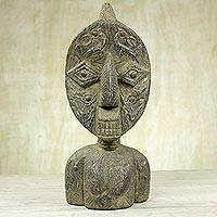 Wood sculpture, 'Bakuta Doll' - West African Wood Sculpture with Aluminum and Brass Plating