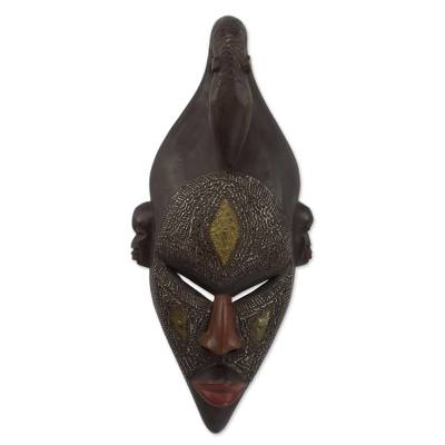 African wood mask, 'Young Strength' - Handcrafted Ghanaian Wood Mask Replica of Young Bambara Man