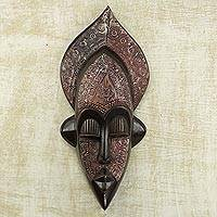 African wood mask, 'Dan Farmer' - Sese Wood and Aluminum Plated Dan Mask from Ghana