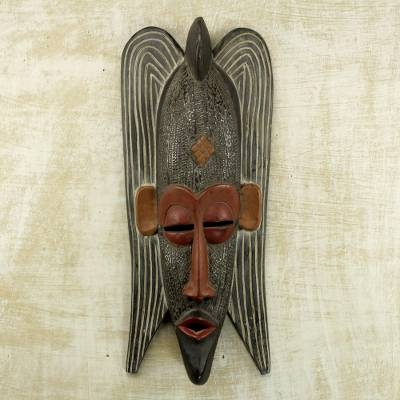 African wood mask, 'Quiet Protector' - Hand Carved West African Wood Protection Mask