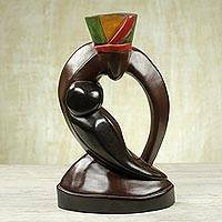 Wood sculpture, 'Mother's Cradle' - Hand Crafted Mother and Child Wood Sculpture from Ghana