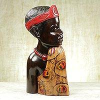 Wood sculpture, 'Profile of a King' - Carved Sese Wood Sculpture of an African Man from Ghana