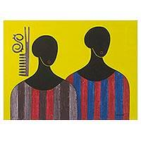'Connection II' - Yellow-Tone Signed Cubist Painting of Two Men from Ghana