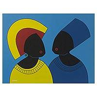 'Dress Code' - Blue and Yellow Tone Cubist Painting of People from Ghana
