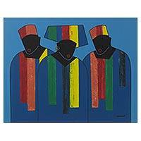 'Fashion Preview' - Signed Multicolored Cubist Painting of People from Ghana