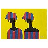 'Stylish Women' - Yellow-Tone Signed Cubist Painting of People from Ghana