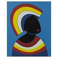 'French Woman' - Multicolored Cubist Painting of a French Woman from Ghana