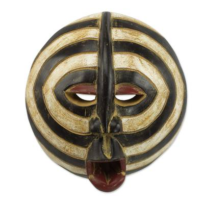 African wood mask, 'Baluba Rings' - African Sese Wood Mask with Beige and Black Rings from Ghana