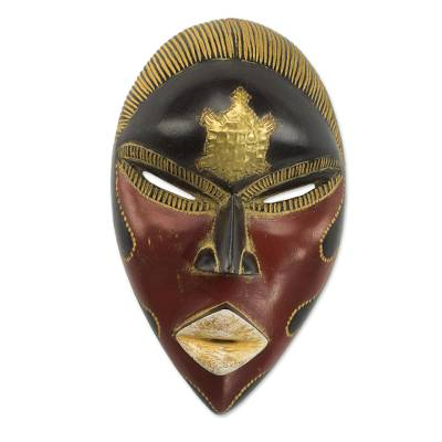 African Sese Wood Turtle Mask in Red and Black from Ghana