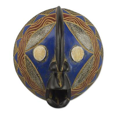 African wood mask, 'Kari Shield' - Sese Wood and Aluminum African Mask in Blue and Black