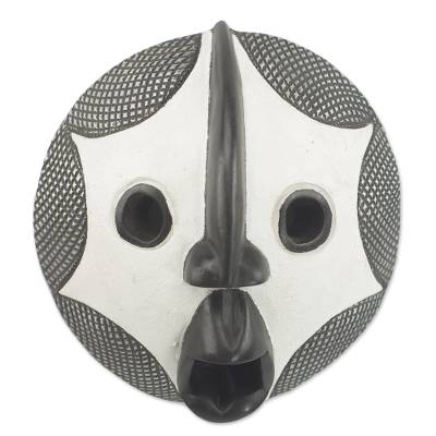African wood mask, 'Stellar Gaze' - African Sese Wood and Aluminum Wall Mask in Black and White