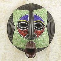 African beaded wood mask, 'Star Watcher'