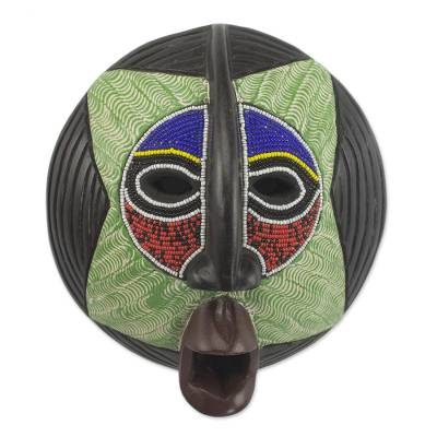 African beaded wood mask, 'Star Watcher' - African Recycled Glass Beaded Multicolored Sese Wood Mask