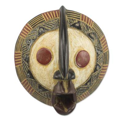 African wood mask, 'Yeau Light' - Sese Wood and Aluminum Mask with a Distressed Finish