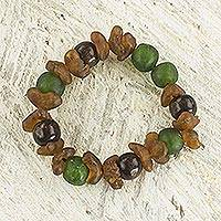 Recycled glass beaded bracelet, 'Divine Mawuena' - Green and Brown Recycled Glass Beaded Bracelet rom Ghana
