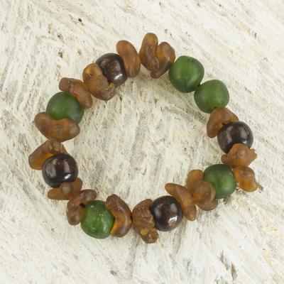 Recycled glass beaded bracelet, 'Divine Mawuena' - Green and Brown Recycled Glass Beaded Bracelet rom Ghana