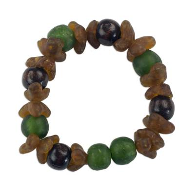 Green and Brown Recycled Glass Beaded Bracelet rom Ghana