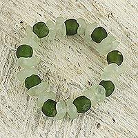 Recycled glass beaded bracelet, 'Relaxing Akorfa' - Recycled Glass Beaded Bracelet in Green and White from Ghana