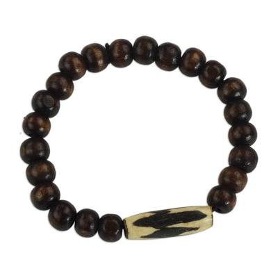 Wood and bone beaded stretch bracelet, 'Wonderful Atinka Pa' - Sese Wood and Bone Beaded Bracelet by Ghanaian Artisans